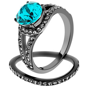 2.39 Ct Blue Zircon Crystal Gray Stainless Steel Wedding Ring Set Womens Sz 5-10