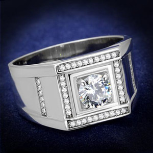 Mens 1.07Ct Round Cut Simulated Diamond 925 Sterling Silver Rhodium Plated Ring