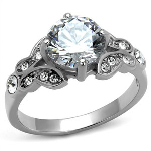 Stainless Steel 2.25 Ct Round Cut Zirconia Engagement Ring Women's Size 5-10