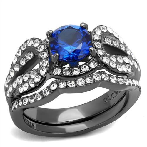 Womens London Blue Synthetic Spinel Light Black Stainless Steel Wedding Ring Set