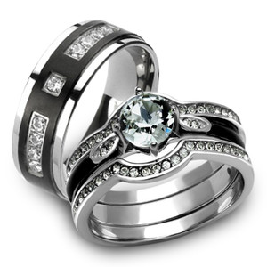 Her & His 4pc Silver & Black Stainless Steel & Titanium Wedding Ring Band Set