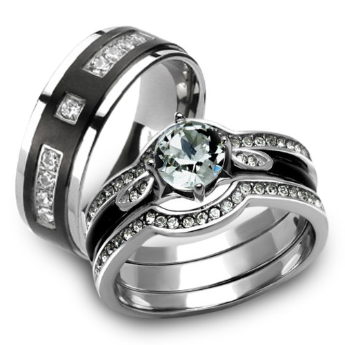st2843 rti4317 her his 4pc silver black stainless steel titanium wedding ring band set - Titanium Wedding Rings For Her