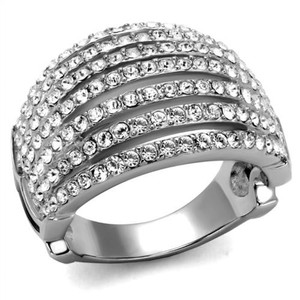 High Polished Stainless Steel Crystal Cocktail Fashion Ring Women's Size 5-10