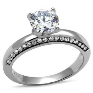 Women's 1.47 Ct Round Cut Cubic Zirconia Stainless Steel Engagement Ring Sz 5-10
