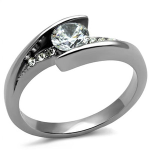 Women's .87 Ct Round Cut Cubic Zirconia, Stainless Steel Engagement Ring Sz 5-10