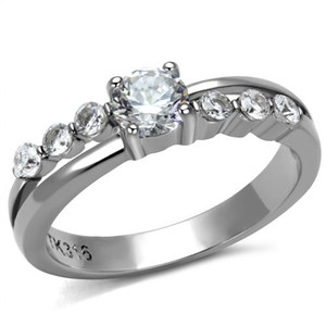 Women's .64 Ct Round Cut Cubic Zirconia, Stainless Steel Engagement Ring Sz 5-10