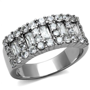 1.77 Ct Cubic Zirconia Stainless Steel Cocktail Fashion Ring Women's Size 5-10