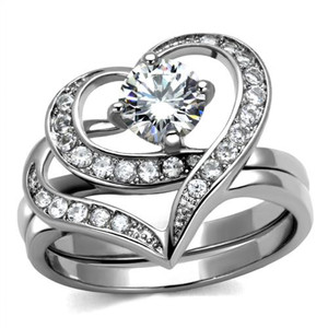 Women's 1.2 Ct Round Cut Cz 2 Piece Heart Shape Stainless Steel Wedding Ring Set