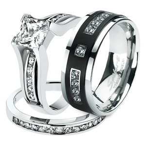 Hers His .925 Sterling Silver Princess Wedding Ring & Titanium Wedding Band Set