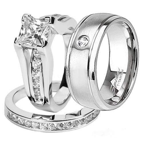 Charmant Her U0026 His .925 Sterling Silver Princess Wedding Ring Set U0026 Titanium Wedding  Band