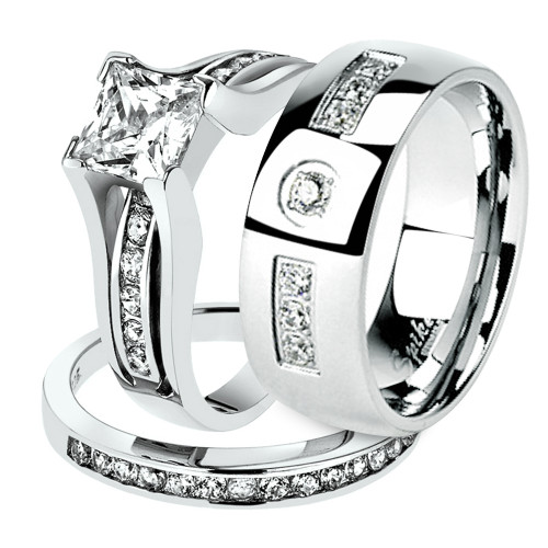STLOS256 ARM4587 His U0026 Hers .925 Sterling Silver Wedding Ring Set U0026  Stainless Steel Wedding Band