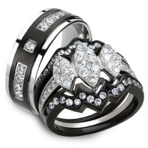 His & Her 4pc Black & Silver Stainless Steel & Titanium Wedding Ring Band Set
