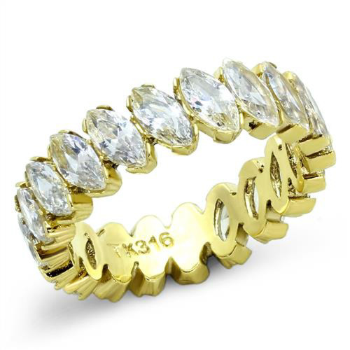 Women's Marquise Cut Cz 14K Gold IP Stainless Steel Eternity Wedding Ring Band