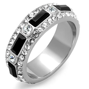 Women's Black Baguette & Clear Round Cut CZ Stainless Steel Eternity Ring Band