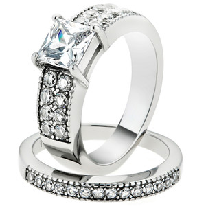 2.07 Ct Princess Cut Zirconia Stainless Steel Wedding Ring Set Women's Size 5-10