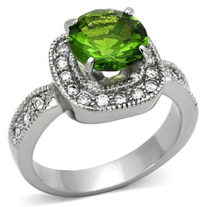 3 Ct Round Cut Peridot Color Cz Stainless Steel Halo Engagement Ring Size 5-10