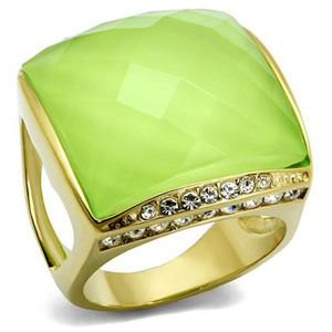 Gold Ion Plated Stainless Steel 20mm Apple Green Synthetic Stone Cocktail Ring