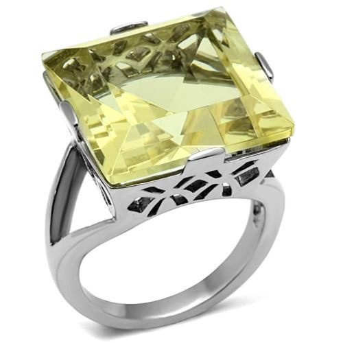 32.44Ct Princess Cut Citrine Yellow Cubic Zirconia Stainless Steel Cocktail Ring