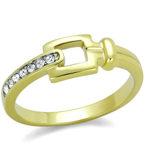 14k Gold Ion Plated Stainless Steel Buckle & Crystal Fashion Ring Womens Sz 5-10