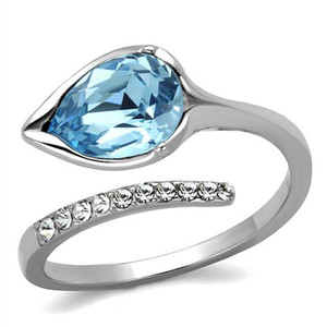 Women's 1.95 Ct Pear Cut Sea Blue Crystal Stainless Steel Cocktail Ring Sz 5-10