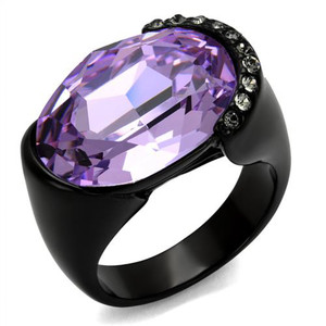 Women's 13 Ct Oval Cut Light Amethyst CZ Black IP Stainless Steel Cocktail Ring