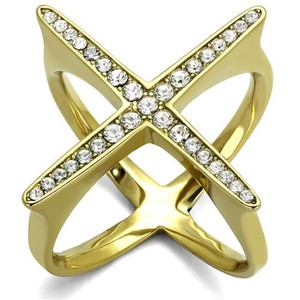 14k Gold Ion Plated Stainless Steel X Shaped Crystal Fashion Ring Womens Sz 5-10