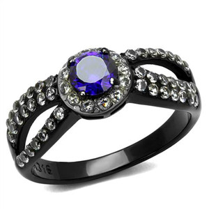 Women's 1.15Ct Round Cut Amethyst Zirconia Black Stainless Steel Engagement Ring