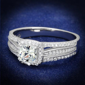 Women's .925 Sterling Silver Rhodium Plated .66Ct Cushion Cut Cz Engagement Ring