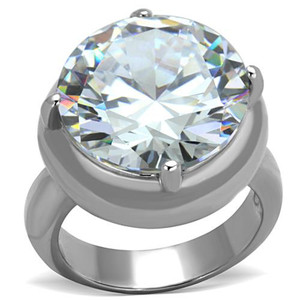 Womens 16.06 Ct Solitaire Cubic Zirconia Stainless Steel Engagement Ring Sz 5-10