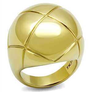 14K Gold Ion Plated Stainless Steel 316 Dome Fashion Ring Women's Size 5-10