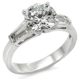 Women's .925 Sterling Silver 3Ct Round & Baguette Cut CZ Engagement Ring Sz 5-10
