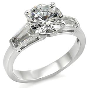 Women's .925 Sterling Silver 3Ct Round & Baguette Cut CZ Engagement Ring Sz 5-10
