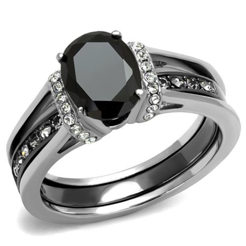 2.12 Ct Oval Cut Black Cz Two Toned Ion Plated Stainless Steel Wedding Ring Set