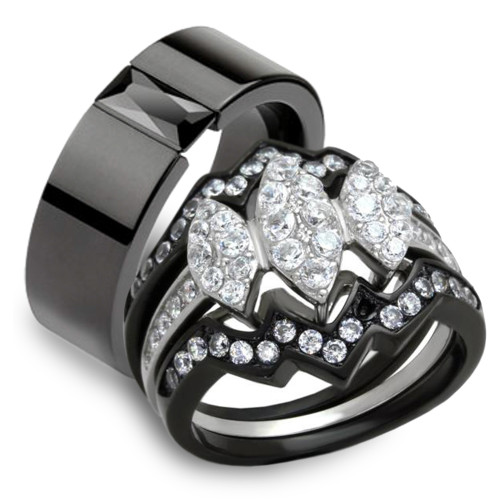 HIS HERS 4 PC BLACK ION PLATED STAINLESS STEEL WEDDING ENGAGEMENT RING BAND SET