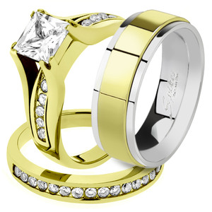 His & Her 14K G.P. Stainless Steel 3pc Wedding Engagement Ring & Men's Band Set