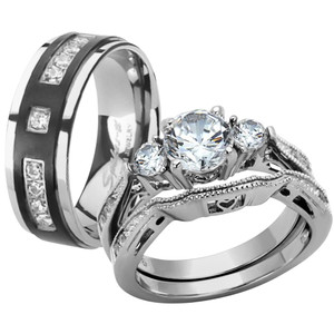 ST1W002-RTI4317 Her & His Stainless Steel Wedding & Engagement Ring & Titanium Wedding Band Set