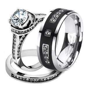 ST1919ARH1570 His Hers Stainless Steel 3 Piece Cz Wedding Ring