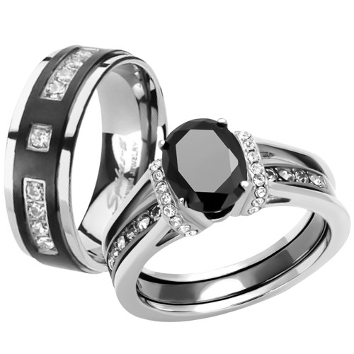 black cz stainless steel wedding engagement ring titanium band set