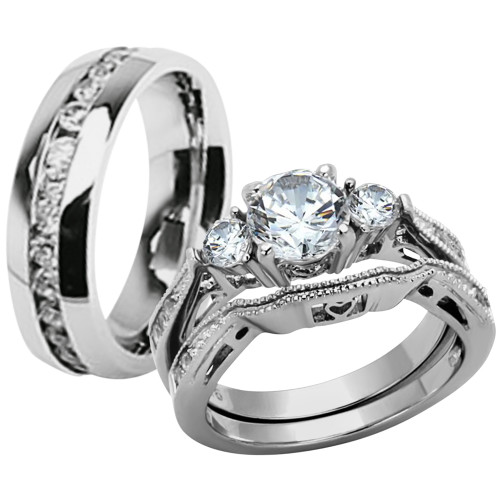 ST1W002 ARH1570 Hers U0026 His Stainless Steel 3 Piece Cz Wedding Ring Set And  Eternity Wedding Band