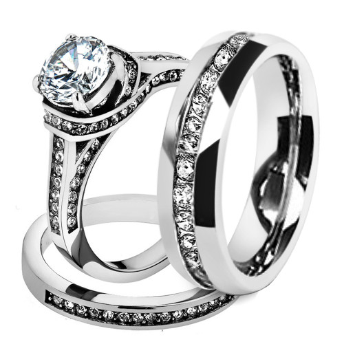 st1919 arh1570 his hers stainless steel 3 piece cz wedding ring set and eternity wedding band - Cz Wedding Ring Sets