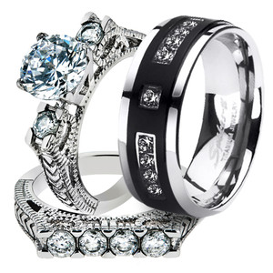 ST2971RTI4317 Her His Black Cz Stainless Steel Wedding