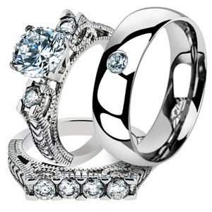 Hers & His 3pc Stainless Steel Round Cut Vintage Bridal Ring Set & Wedding Band
