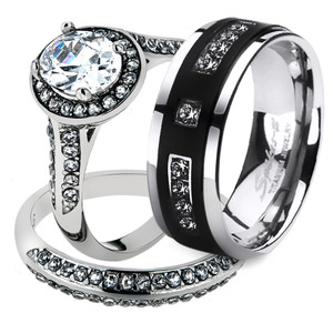 His & Her 3pc Stainless Steel Halo Bridal Ring Set & Men's Titanium Wedding Band