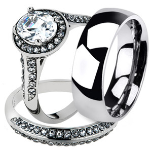 His & Hers Stainless Steel Womens Halo Bridal Set & Mens Classic Wedding Band