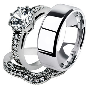 His & Her Stainless Steel Vintage Engagement Bridal Ring Set & Men's Wedding Band