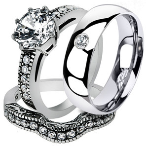 Hers and His Stainless Steel Vintage Bridal Ring Set & Zirconia Wedding Band