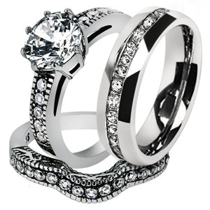 His & Hers Stainless Steel Vintage Bridal Ring Set & Men's Eternity Wedding Band