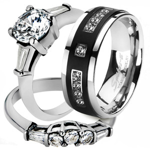 His & Her 3pc Stainless Steel Bridal Engagement Ring Set & Titanium Wedding Band