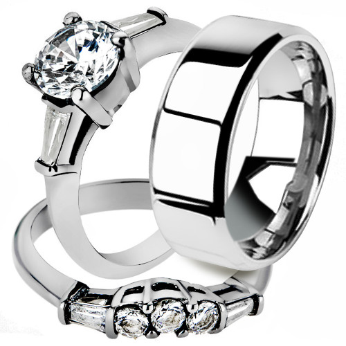His & Her Stainless Steel Women's Bridal Engagement Ring Set & Mens Wedding Band