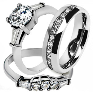 His & Hers Stainless Steel Bridal Engagement Ring Set & Eternity Wedding Band